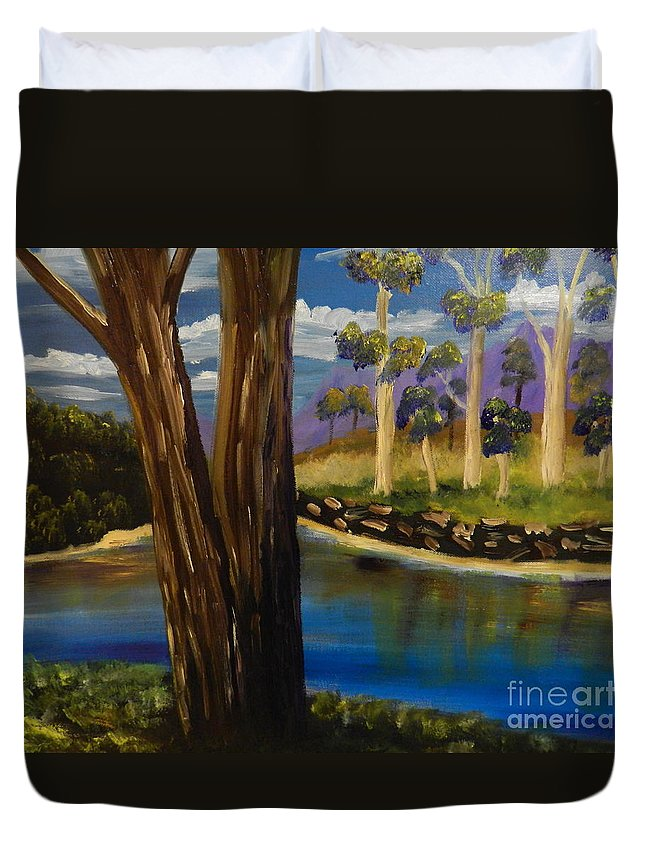 Snowy-river Duvet Cover featuring the painting Summer In The Snowy River Region by Pamela Meredith