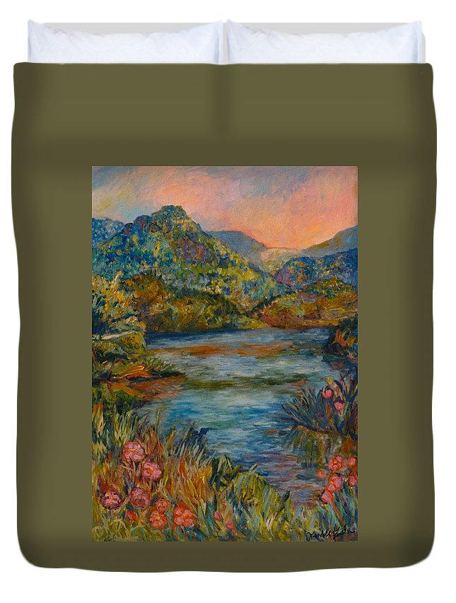 Lake Duvet Cover featuring the painting Summer Lake by Kendall Kessler