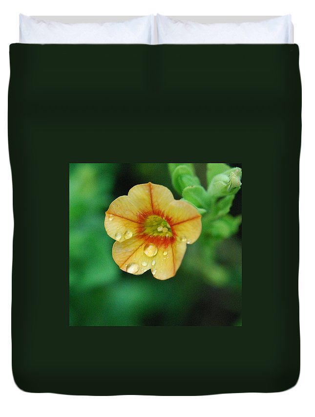 Orange Flower Duvet Cover featuring the photograph Summer Mini Bell by Amy Porter