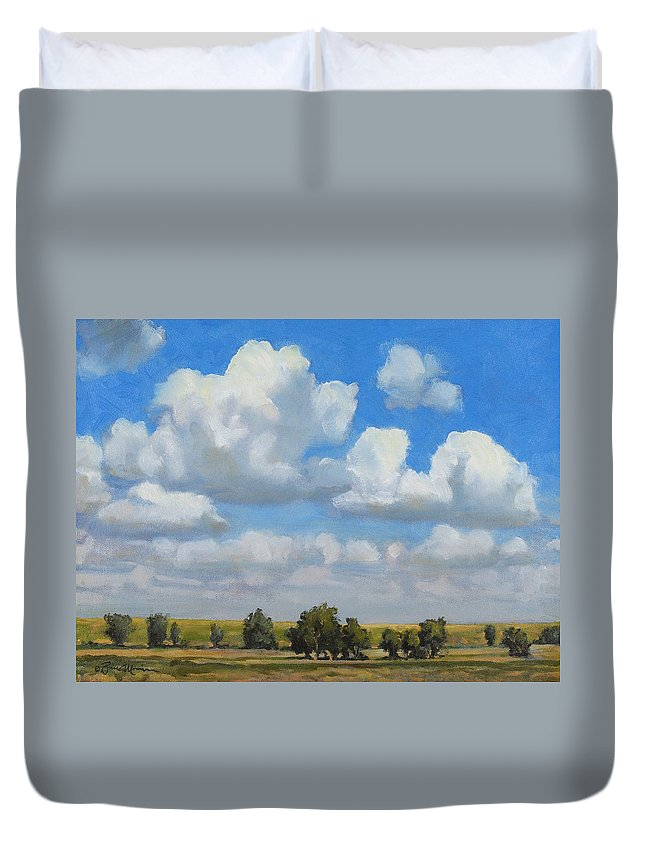 Landscape Duvet Cover featuring the painting Summer Pasture by Bruce Morrison