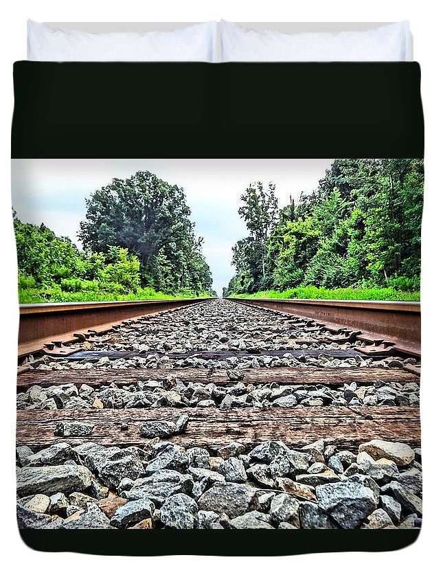 Summer Train Tracks Duvet Cover featuring the photograph Summer Railroad Tracks by Dan Sproul