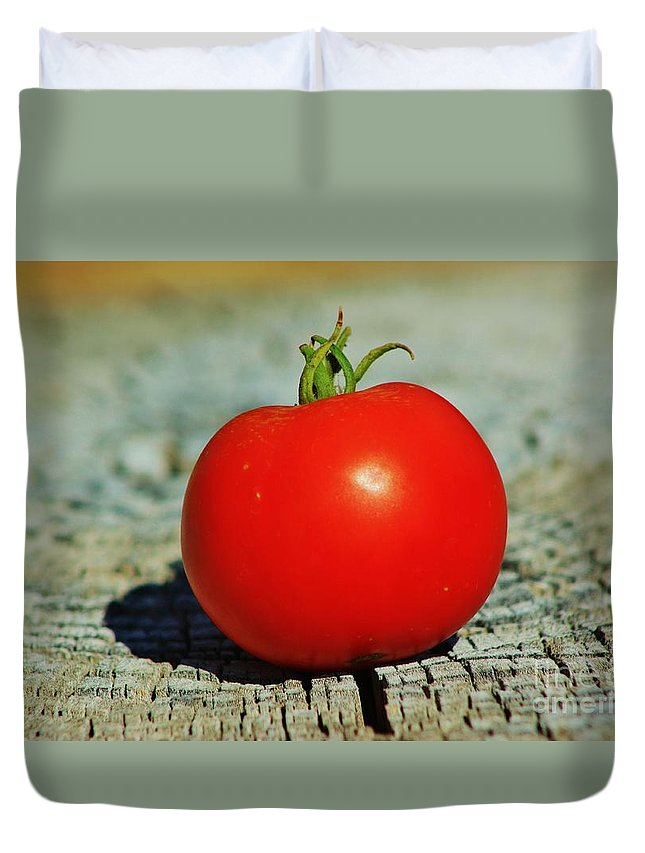 Red Duvet Cover featuring the photograph Summer Red Tomato by Robert D Brozek