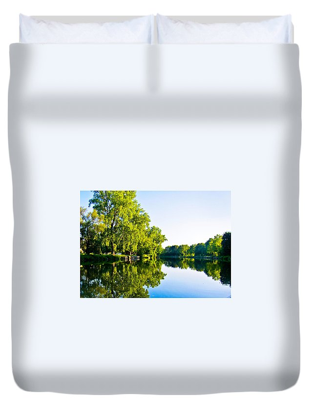 Erie Canal Duvet Cover featuring the photograph Summer Reflections by Sara Frank