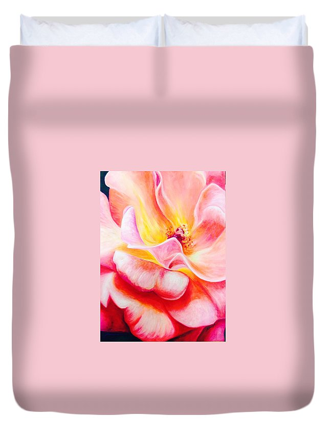 Painting Duvet Cover featuring the painting Summer Romance by Katherine Boiczyk