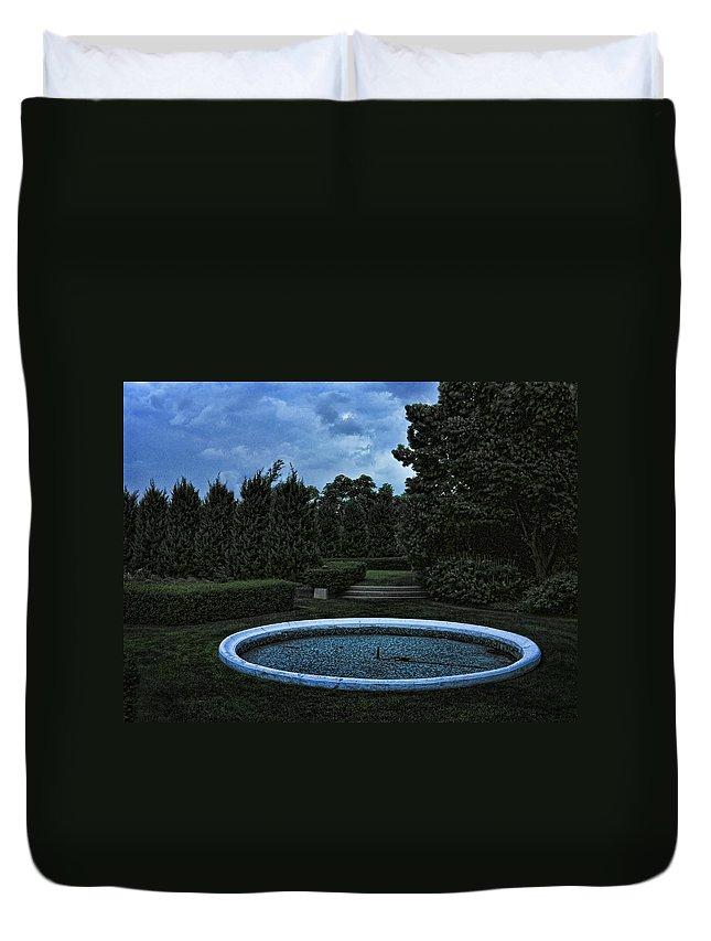 Blue Duvet Cover featuring the photograph Summer Storm Coming Bahai Temple by John Hansen