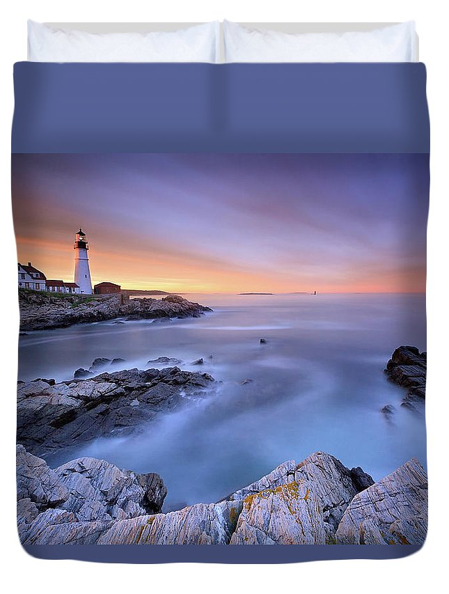 Tranquility Duvet Cover featuring the photograph Summer Sunset At The Portland Head Light by Katherine Gendreau Photography