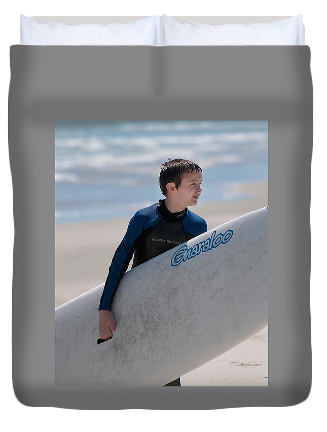 Portrait Duvet Cover featuring the photograph Summer Surfin by Photos By Cassandra