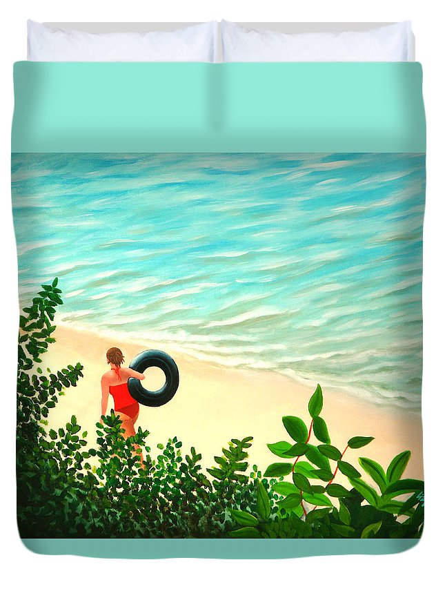 Summer Duvet Cover featuring the painting Summer Swim by Liz Boston