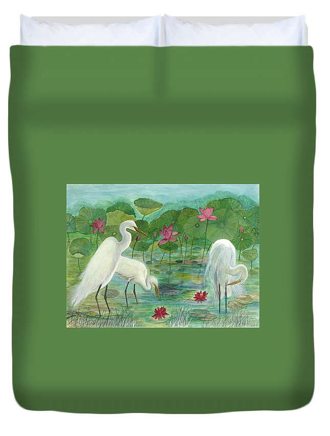 Lily Pads; Egrets; Low Country Duvet Cover featuring the painting Summer Trilogy by Ben Kiger