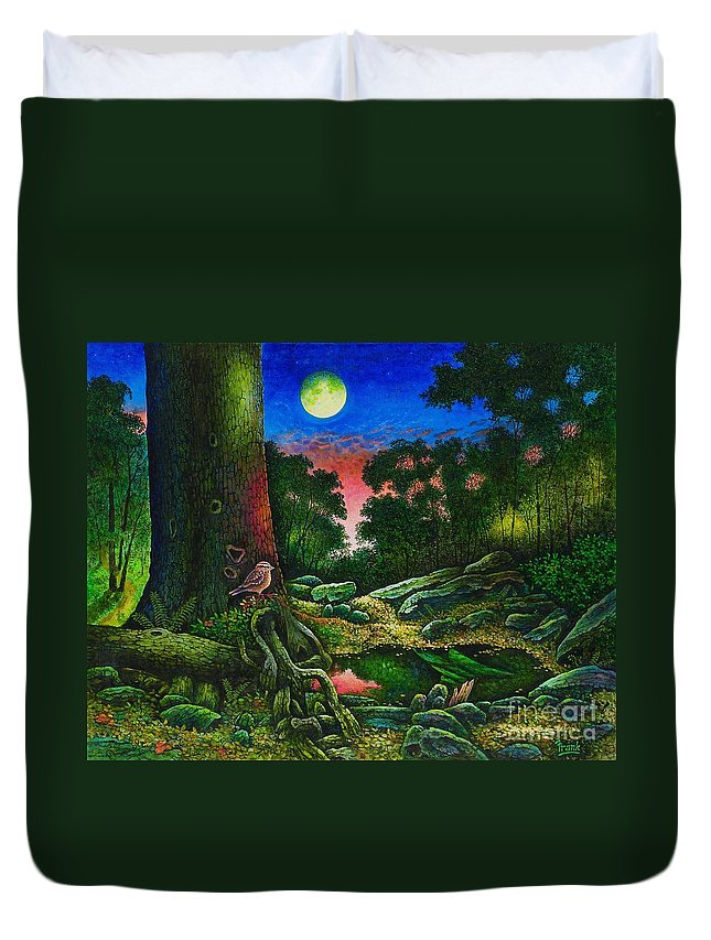 Summer Duvet Cover featuring the painting Summer Twilight In The Forest by Michael Frank