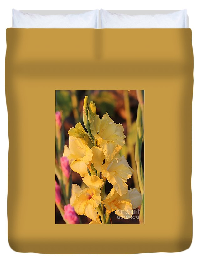 Yellow Duvet Cover featuring the photograph Summer Yellow Gladiolus by Carol Groenen