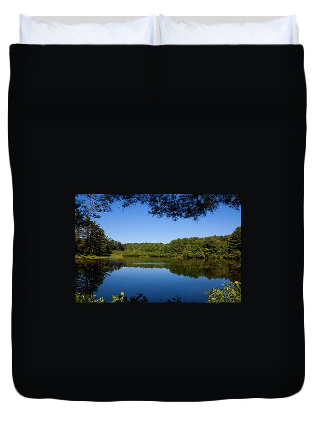 Landscape Duvet Cover featuring the photograph Summers Blue View by Karol Livote