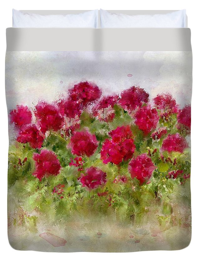 Geraniums Duvet Cover featuring the painting Summer's Blush by Colleen Taylor