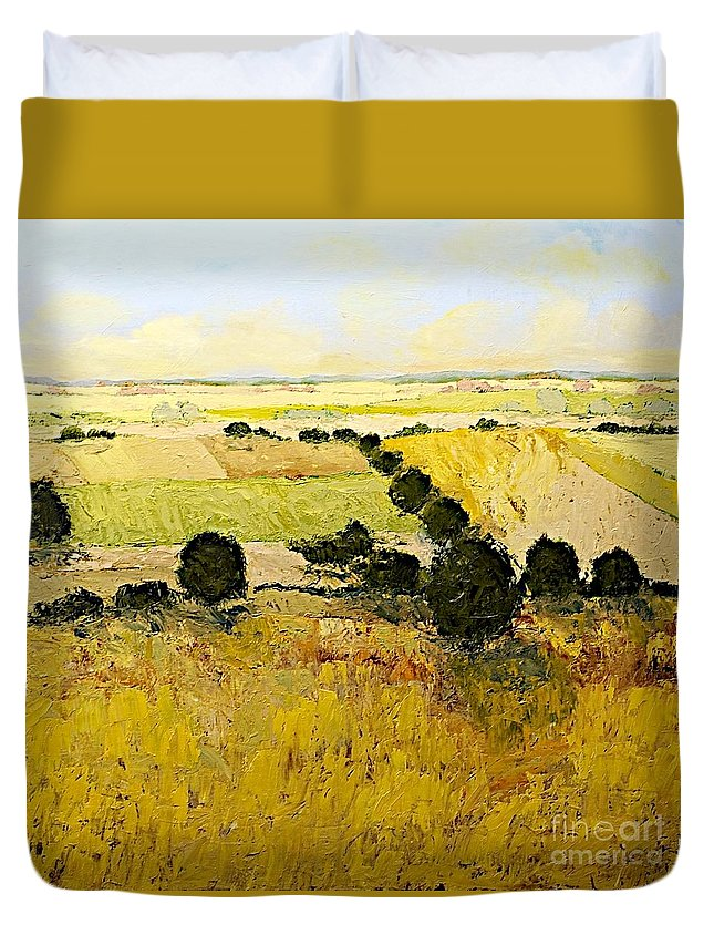 Landscape Duvet Cover featuring the painting Summers End by Allan P Friedlander