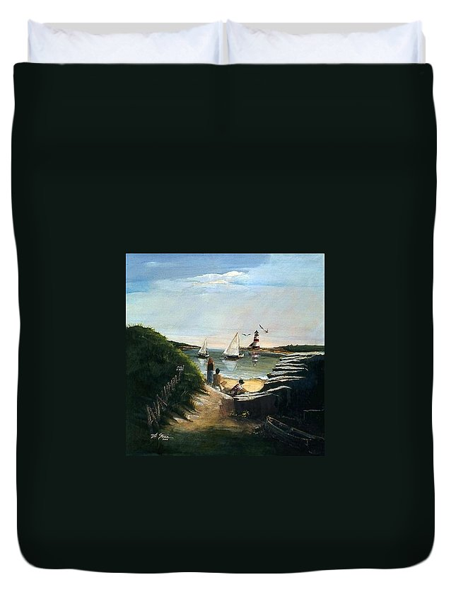 Ocean Duvet Cover featuring the painting Summer's End by Diane Strain