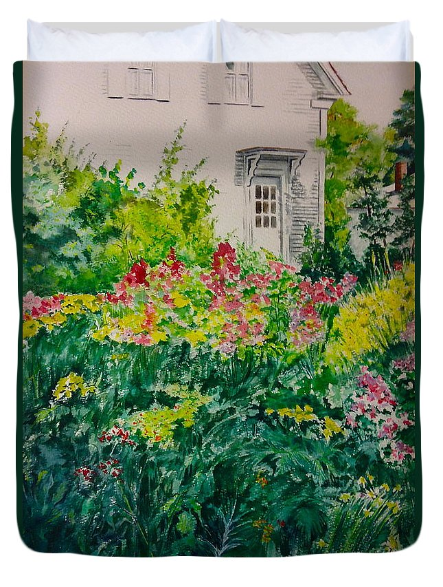 Flowers Duvet Cover featuring the painting 16. Sun Kissed by Elaine Wilson