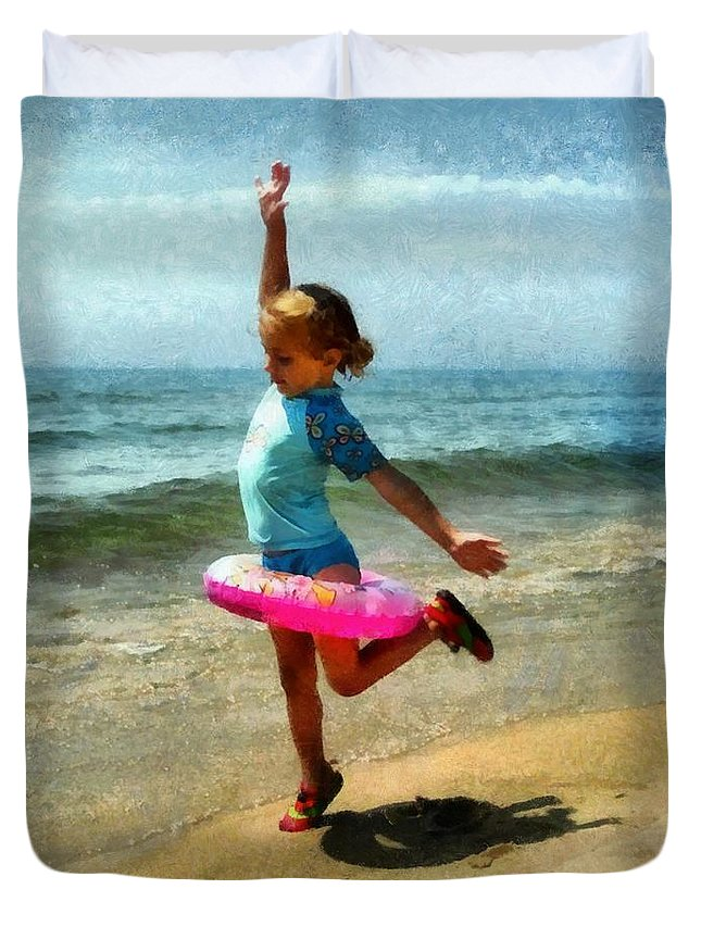 Beach Duvet Cover featuring the photograph Summertime Girl by Michelle Calkins