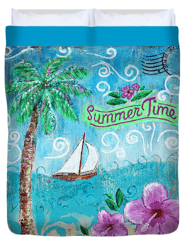 Summertime Duvet Cover featuring the painting Summertime by Jan Marvin