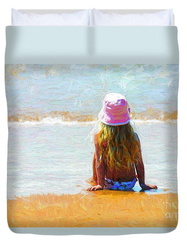 Little Girl On Beach Duvet Cover featuring the photograph Summertime by Sheila Smart Fine Art Photography