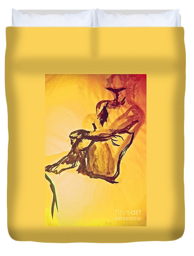 First Star Art Duvet Cover featuring the painting Sun Bath By Jrr by First Star Art