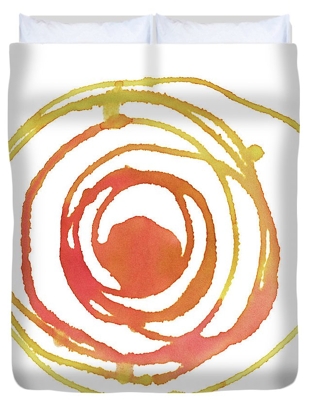 Watercolor Painting Duvet Cover featuring the digital art Sun Circle Abstract Water Color Paint by 4khz