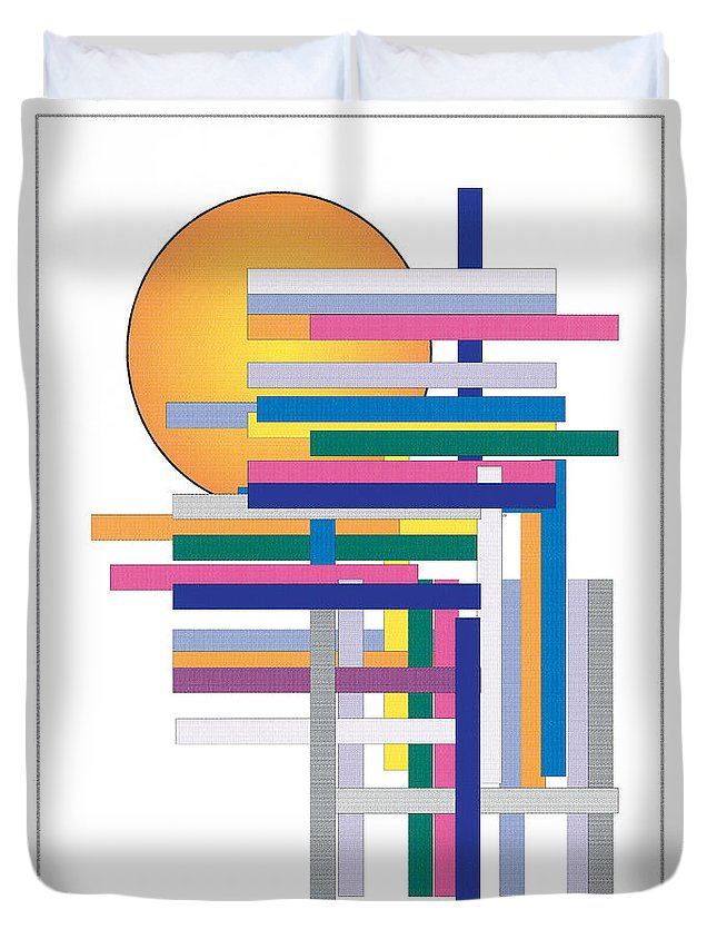 Contemporary Duvet Cover featuring the digital art Sun City by Bjorn Sjogren