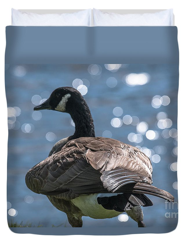 Goose Duvet Cover featuring the photograph Sun Light Dancing On The Water by Dale Powell