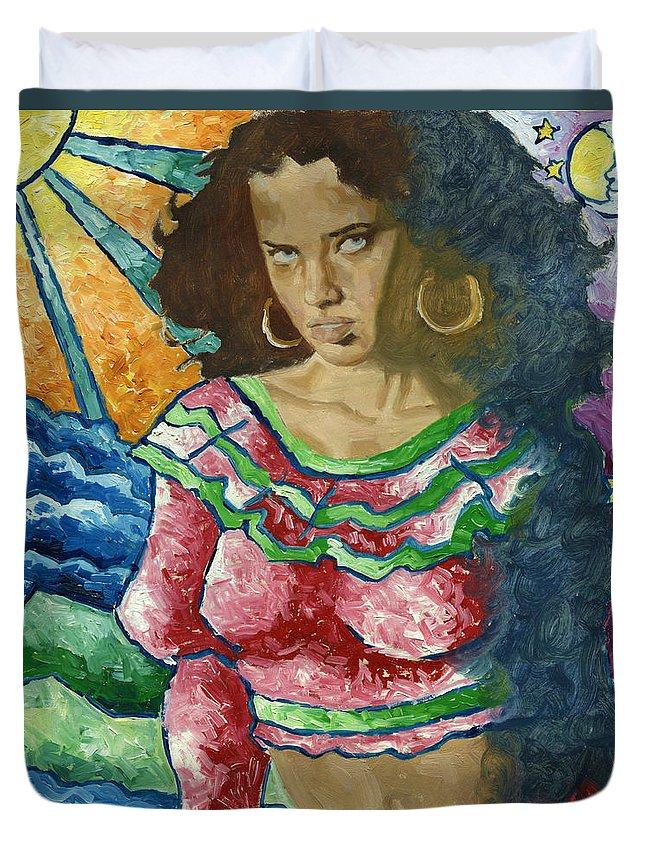 Sun Dancer Duvet Cover featuring the painting Gitana by Luis Navarro