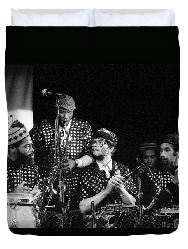 Jazz Duvet Cover featuring the photograph Sun Ra Arkestra With John Gilmore by Lee Santa