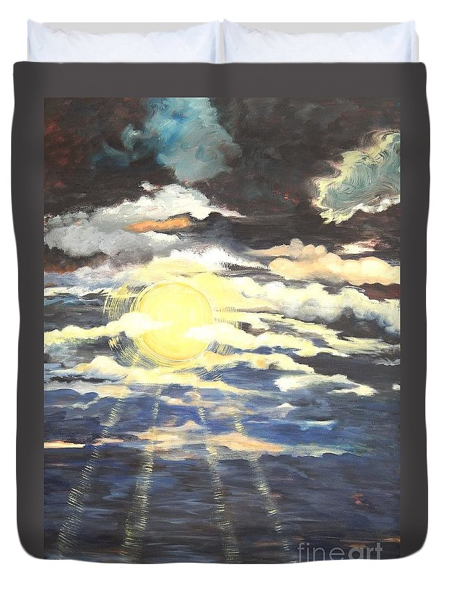 Sun Duvet Cover featuring the painting Rays Of Light by Caroline Street