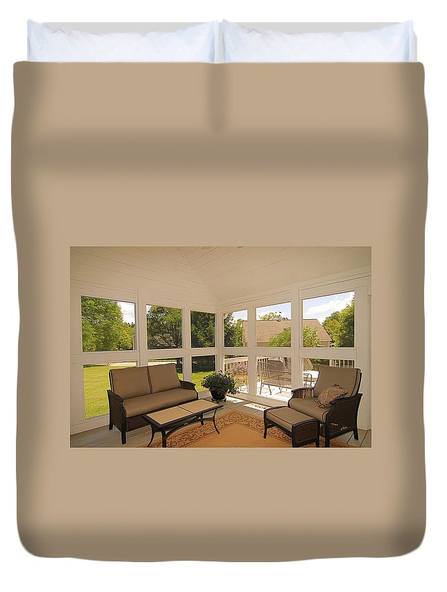 Sun Room Duvet Cover featuring the photograph Sun Room by Linda Covino