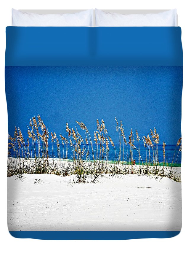 Gulf Of Mexico Duvet Cover featuring the photograph Sun Sand Surf by Mary Marsh