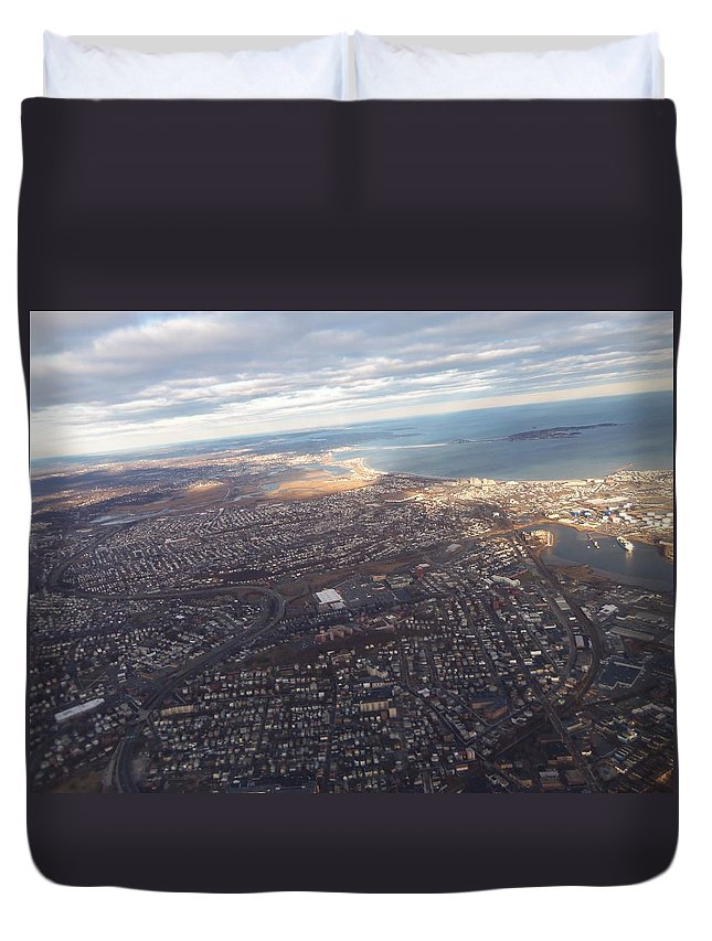 Airplane Duvet Cover featuring the photograph Sun Stained City by Two Bridges North