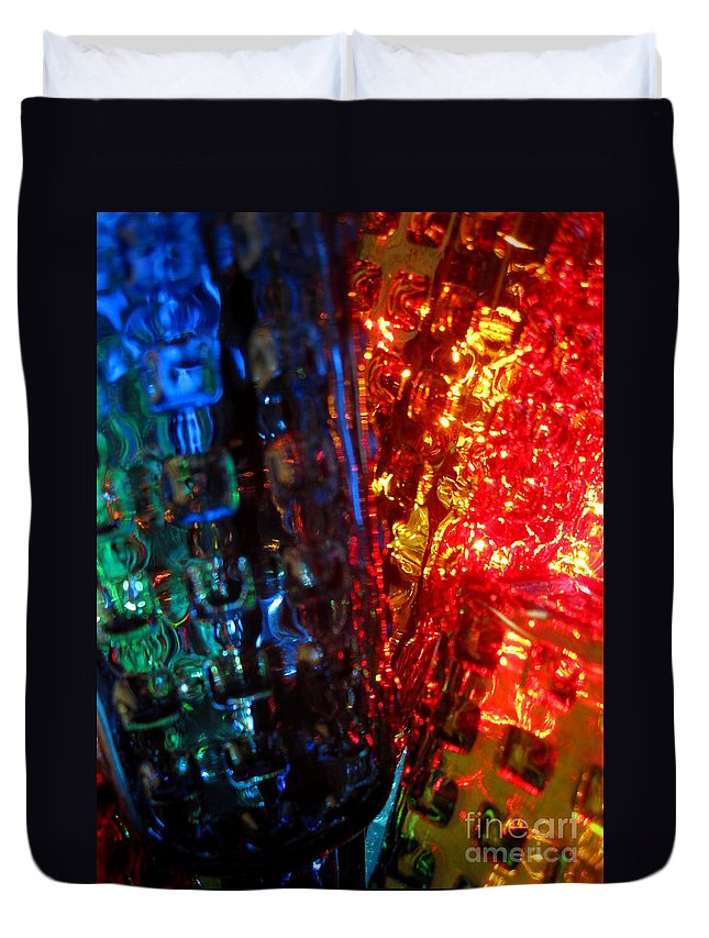 Glass Duvet Cover featuring the photograph Sun Through Glass by Jan Prewett