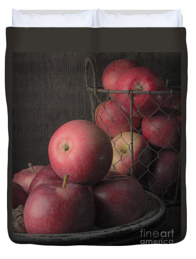 Fruit Duvet Cover featuring the photograph Sun Warmed Apples Still Life Standard Sizes by Edward Fielding