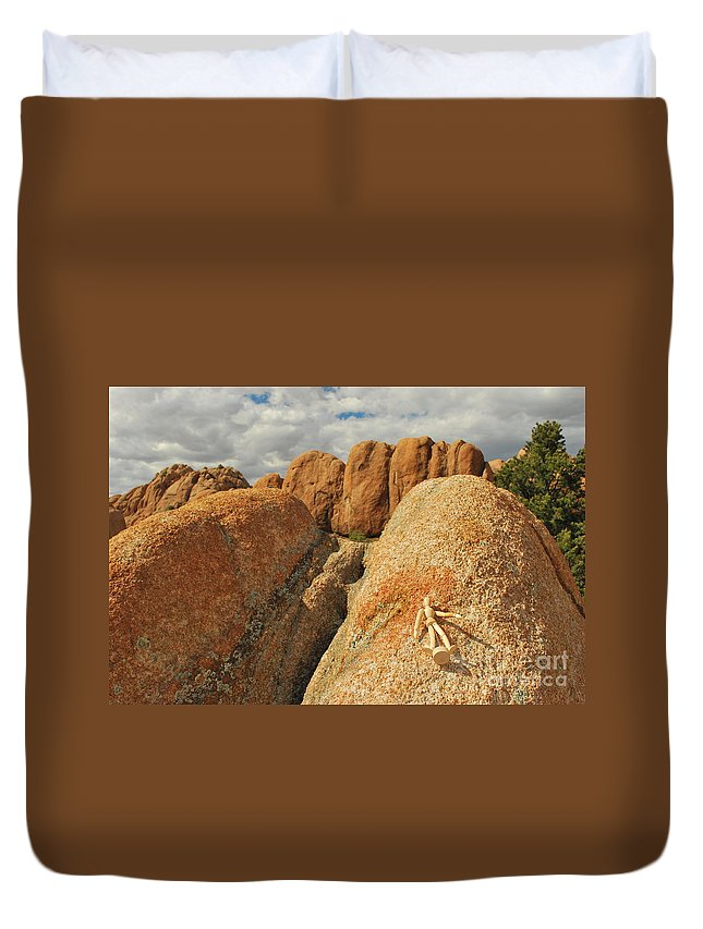 Granite Duvet Cover featuring the photograph Sunbathing In The Raw by Heather Kirk