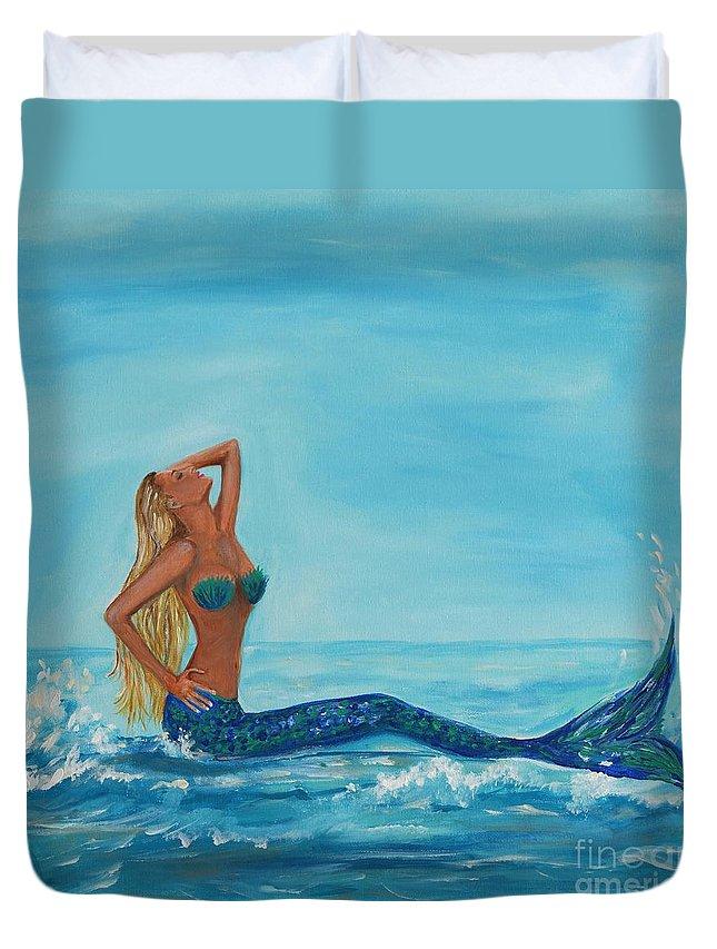 Mermaid Duvet Cover featuring the painting Sunbathing Mermaid by Leslie Allen