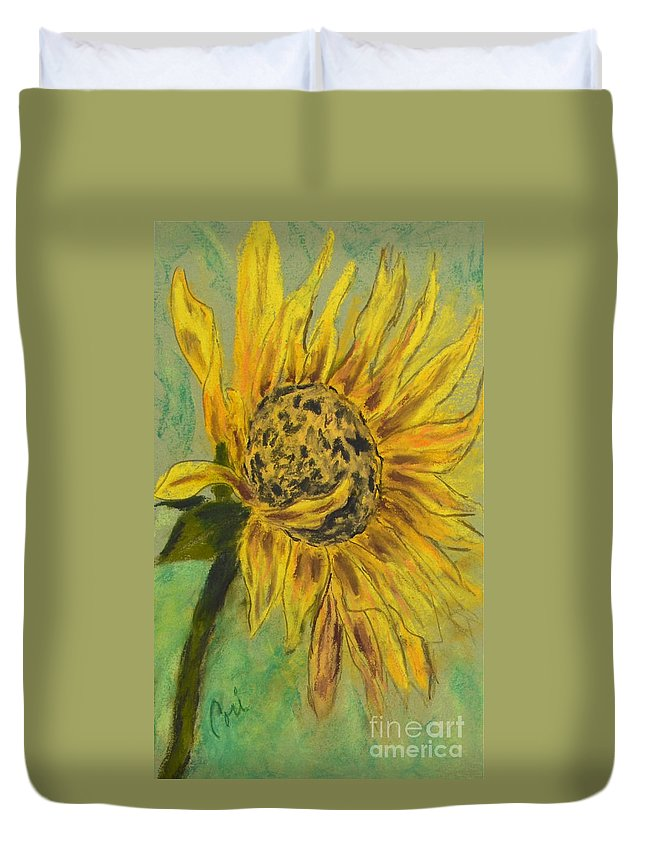 Sunflower Duvet Cover featuring the drawing Sunburst by Cori Solomon
