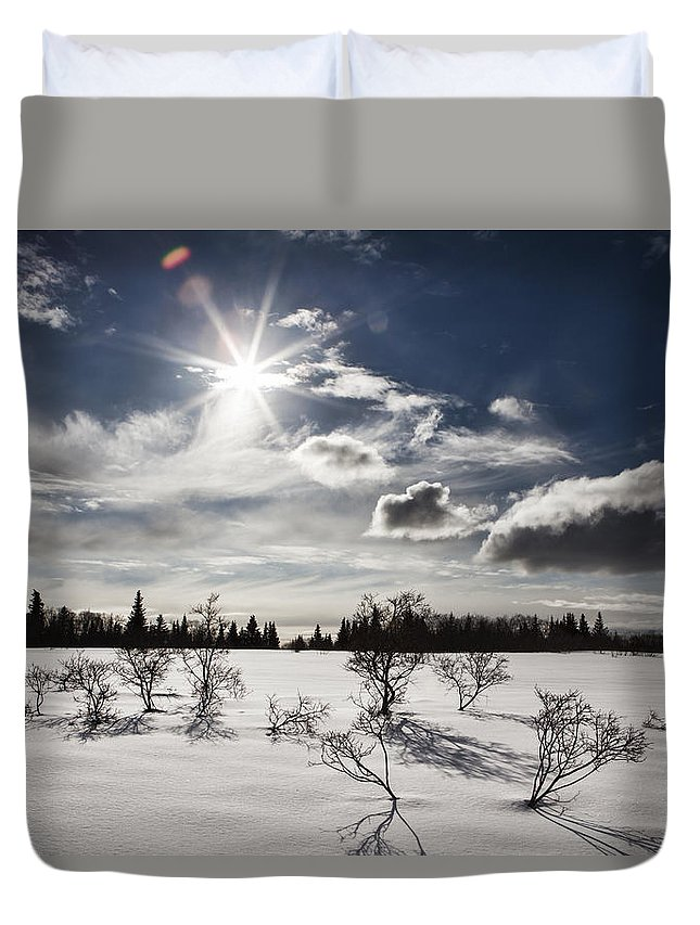 Alaska Duvet Cover featuring the photograph Sunburst With Snow by Michele Cornelius