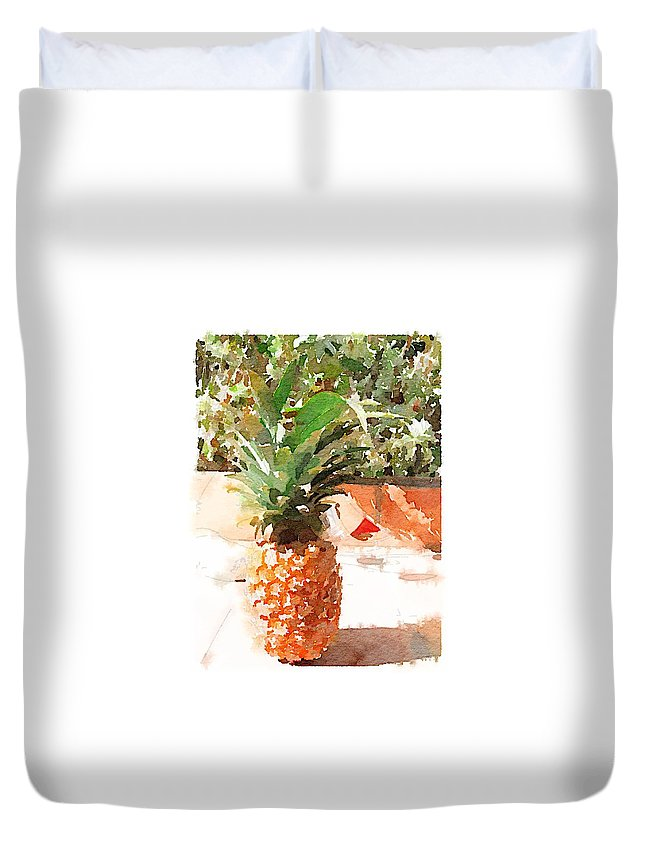 Pineapple Duvet Cover featuring the digital art Sunday Brunch by Shannon Grissom