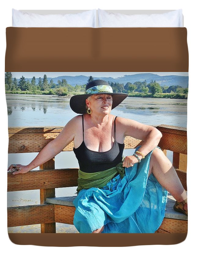Portrait Duvet Cover featuring the photograph Sunday Lakeside by VLee Watson