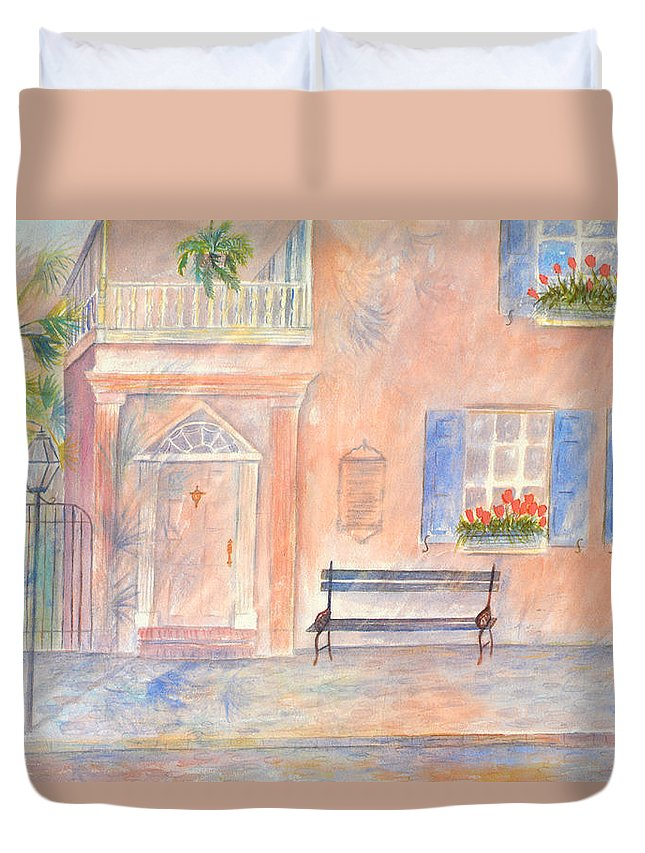 Charleston; Low Country; Palmetto Tree Duvet Cover featuring the painting Sunday Morning In Charleston by Ben Kiger