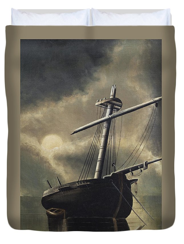 Sailing Ship Duvet Cover featuring the painting Port Of Haven - Sundown by Dun Photo