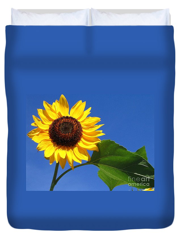 Sunflower Duvet Cover featuring the photograph Sunflower Alone by Line Gagne