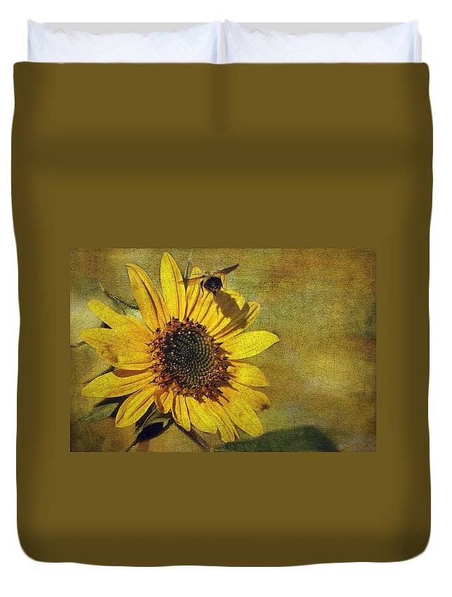 Cindi Ressler Duvet Cover featuring the photograph Sunflower And Bumble Bee by Cindi Ressler
