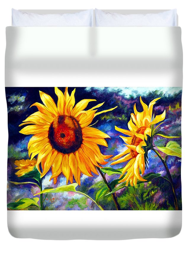 Sunflowers Duvet Cover featuring the painting Sunflower by Gustavo Oliveira
