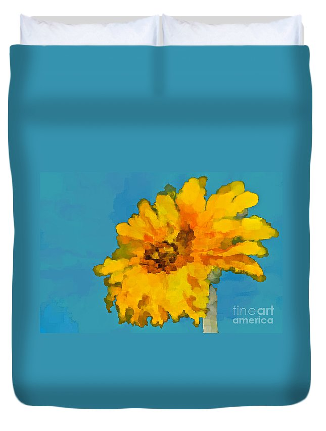 Sunflower Duvet Cover featuring the photograph Sunflower Illusion by Gwyn Newcombe