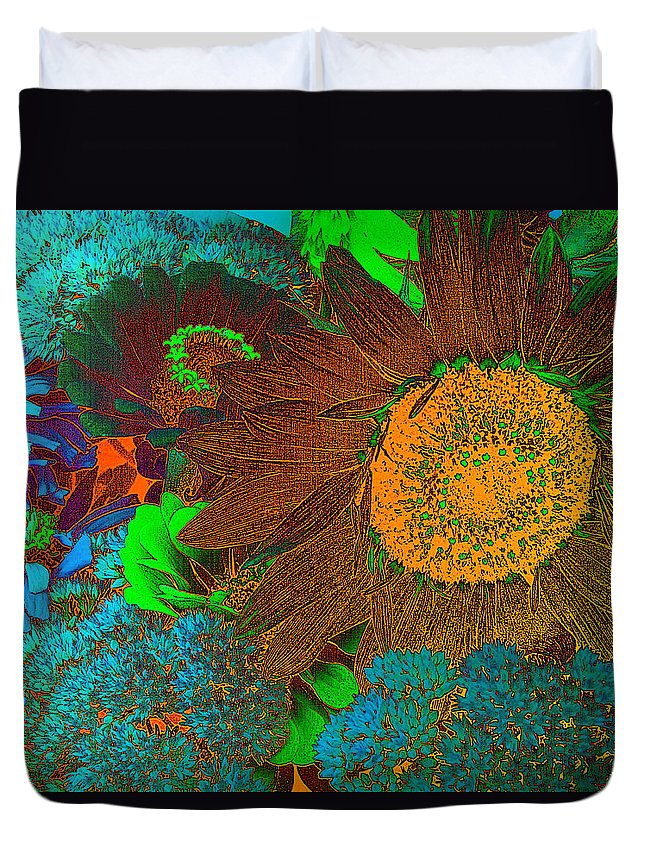 Sunflower Duvet Cover featuring the photograph Sunflower In Brown by David Pantuso