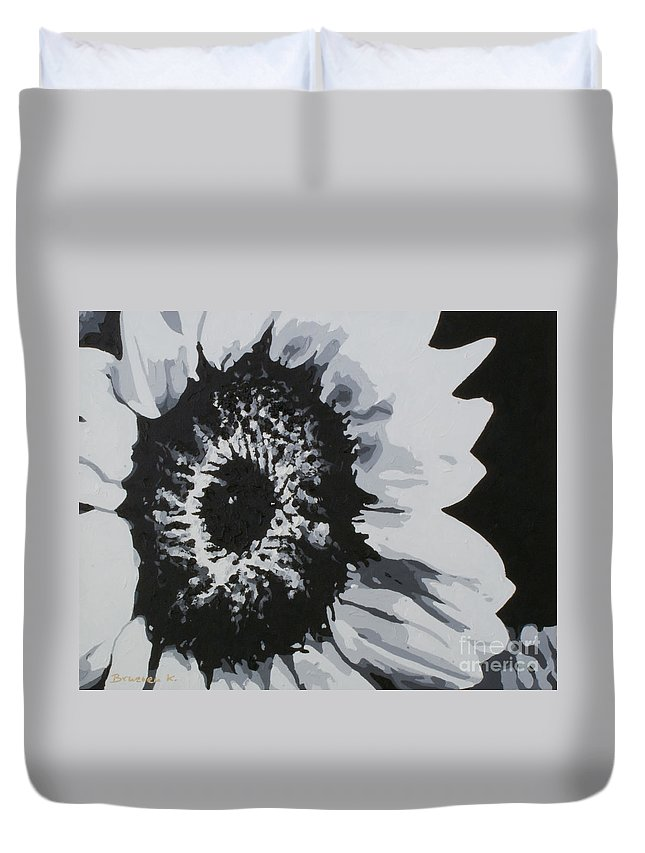 Sunflower Duvet Cover featuring the painting Sunflower by Katharina Filus