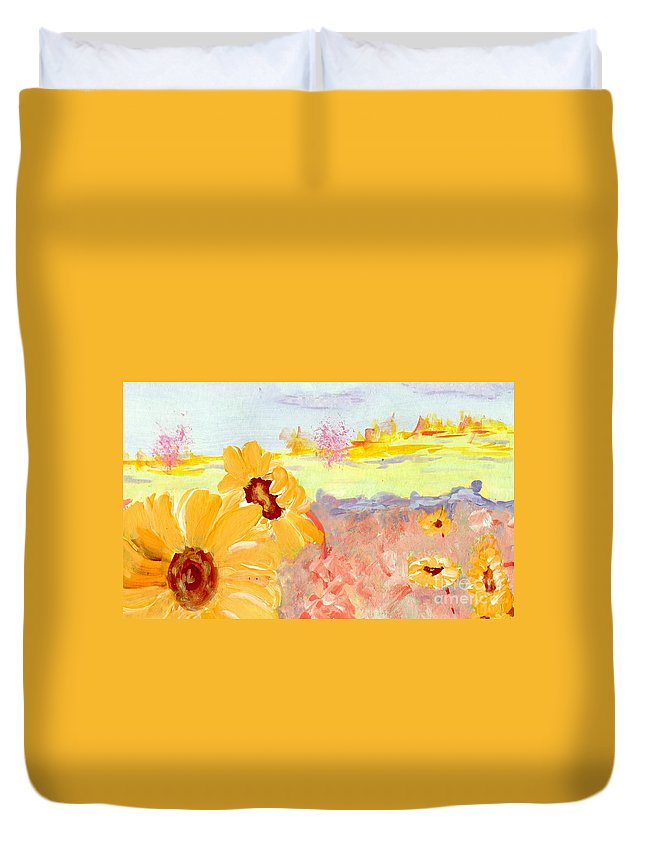 Nature Duvet Cover featuring the painting Sunflower by K Alan Jarrett